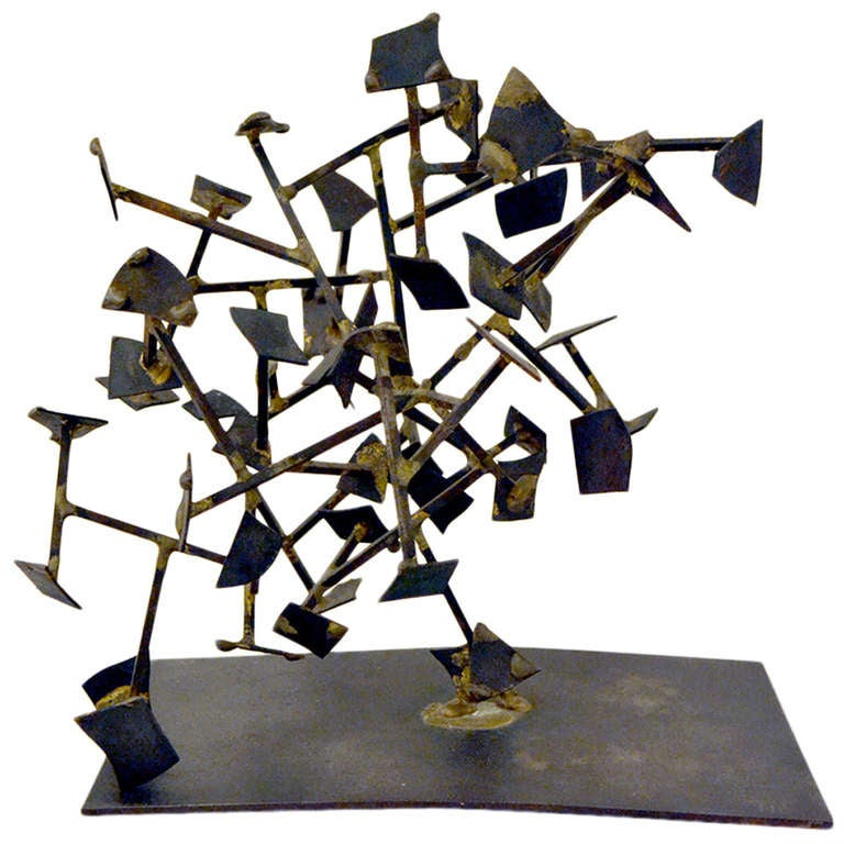 Harry Bertoia Welded Steel and Brass Sculpture, USA 1950s