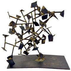Harry Bertoia Welded Steel and Brass Sculpture, USA 1950s