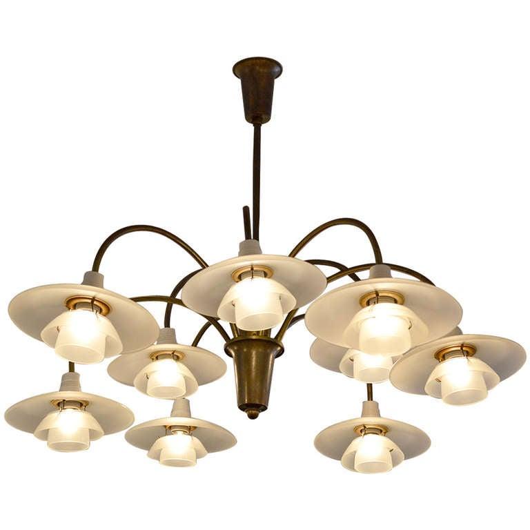 poul henningsen nine branch cascade chandelier at 1stdibs. Black Bedroom Furniture Sets. Home Design Ideas