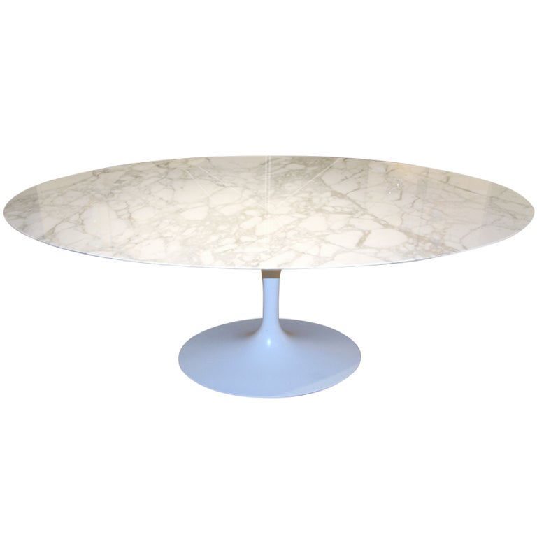 Large Oval Marble Tulip Dining Table By Eero Saarinen For Knoll At - Oval marble dining table