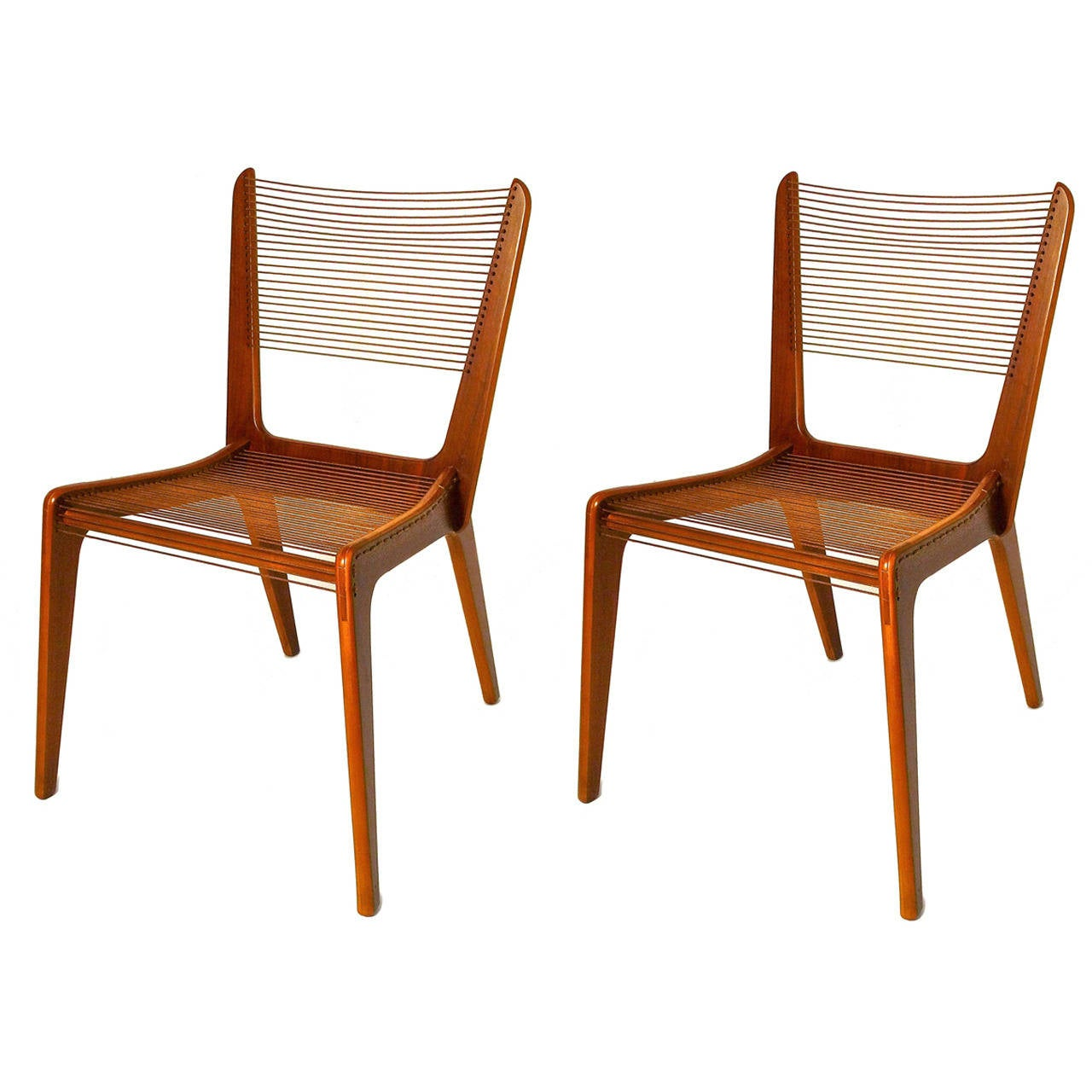 Charmant Pair Of Jacques Guillon Cord Chairs, Canada, 1950s For Sale