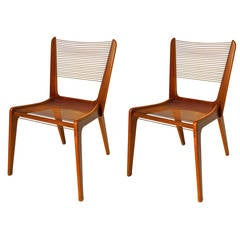 Pair of Jacques Guillon Cord Chairs, Canada, 1950s