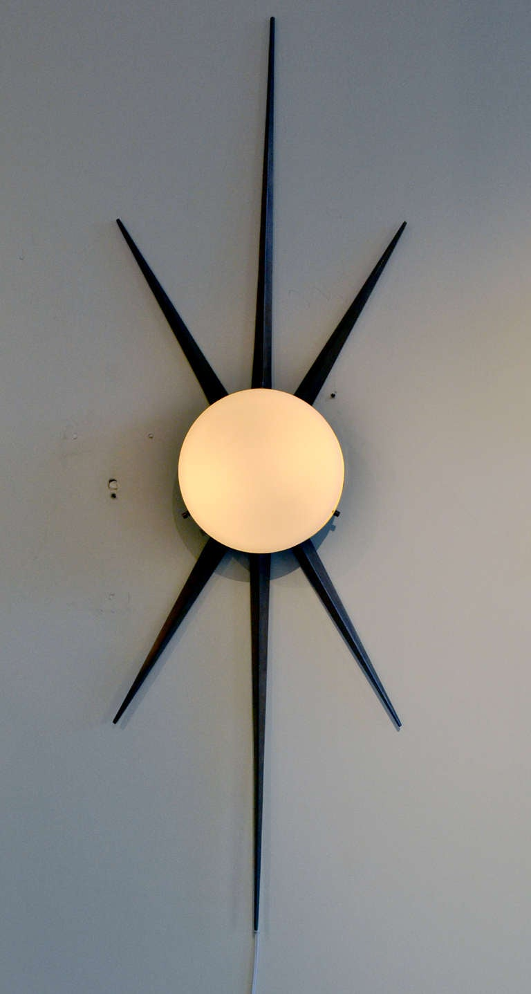 Italian Pair of Gio Ponti Starburst Sconces, Italy 1950s For Sale
