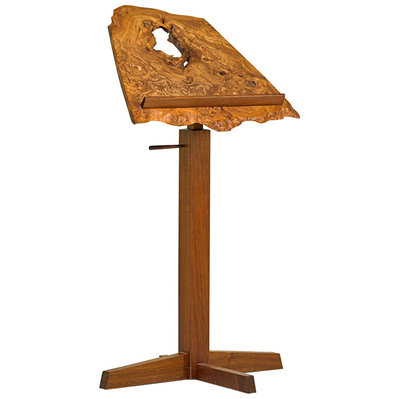 George Nakashima Adjustable Music Stand in Burl, Elm & Walnut, USA 1980 In Good Condition For Sale In New York, NY