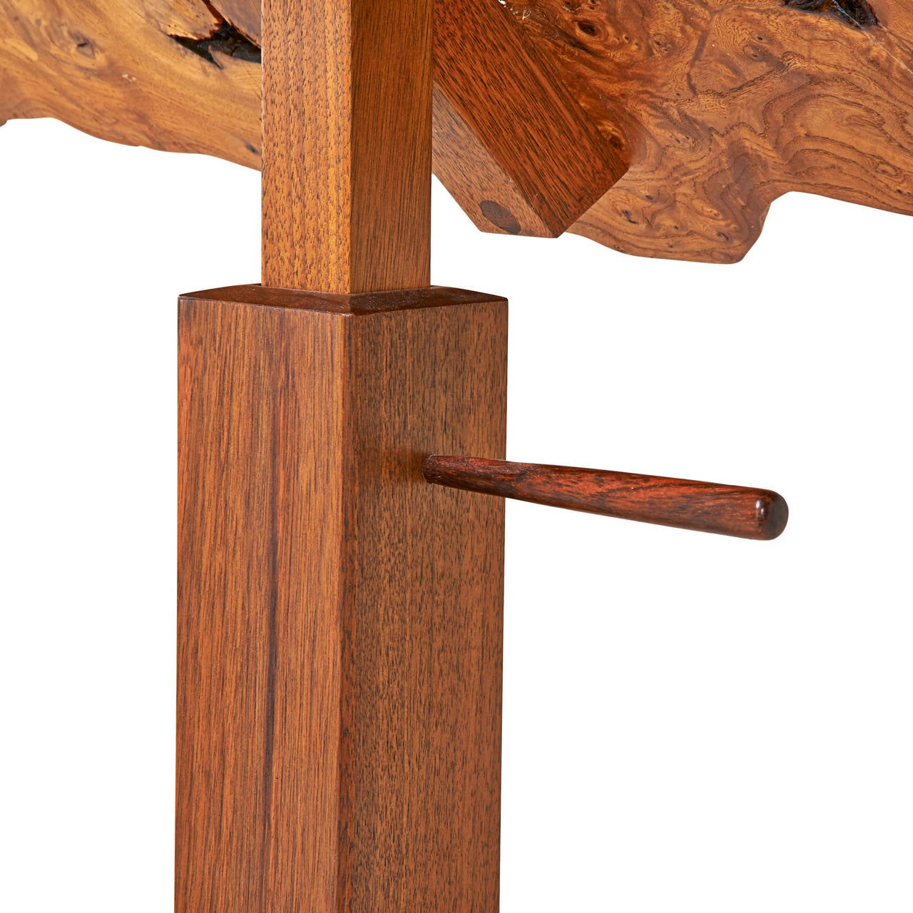 Adjustable music stand made from walnut and Carpathian elm burl. The stand is unmarked and has been documented by a copy of the original drawing.