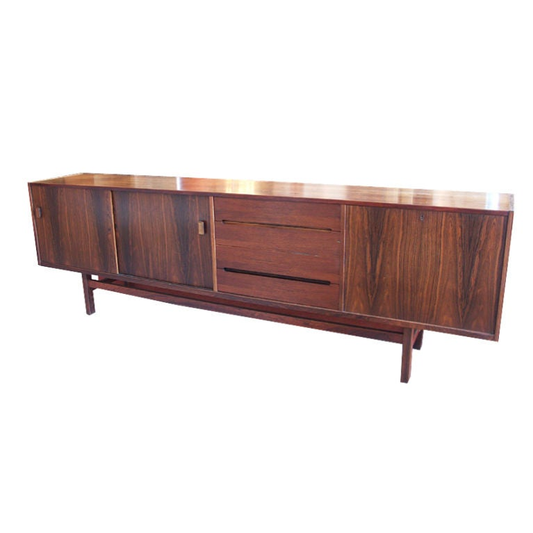 Long Swedish Rosewood Sideboard by Hugo Troeds