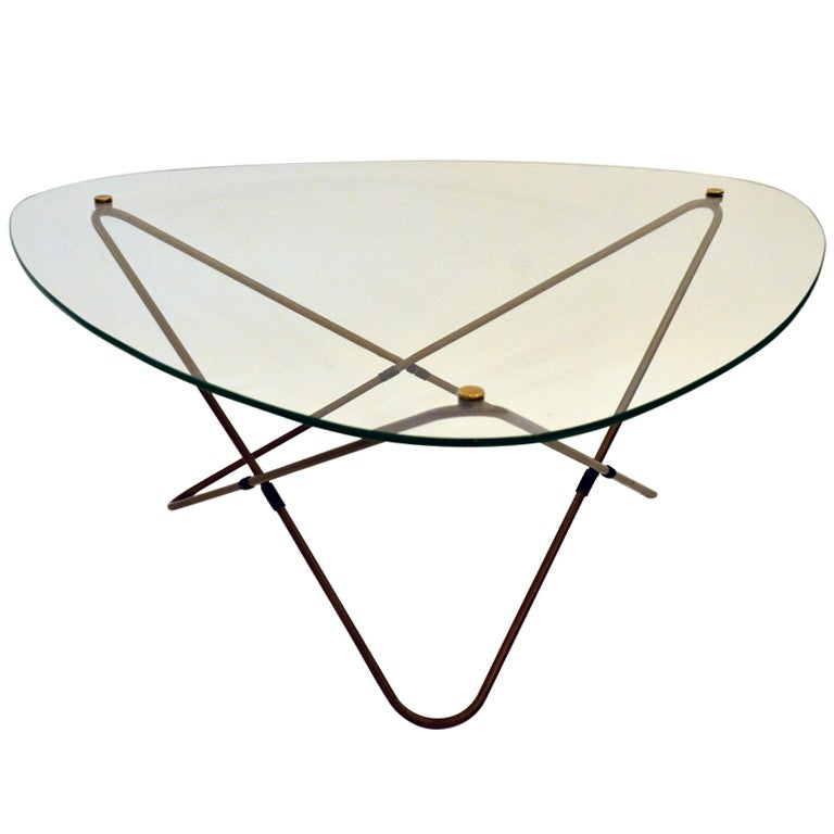 "The ""Atomic"" Mid Century Triangular Coffee Table By Pierre"