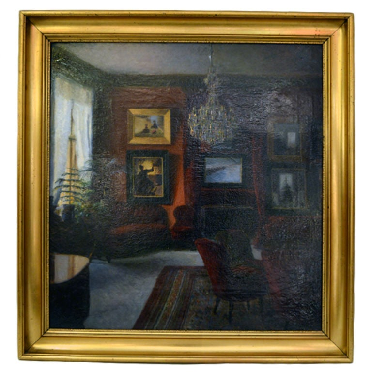 Salon Oil Painting by Sigurd Wandel For Sale