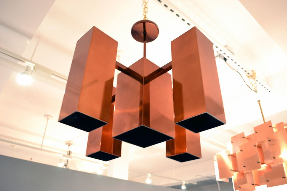 Architectural Copper Chandelier by Robert Sonneman 2