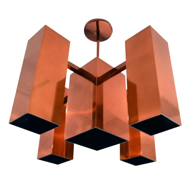 Robert Sonneman Copper Chandelier, USA 1970s