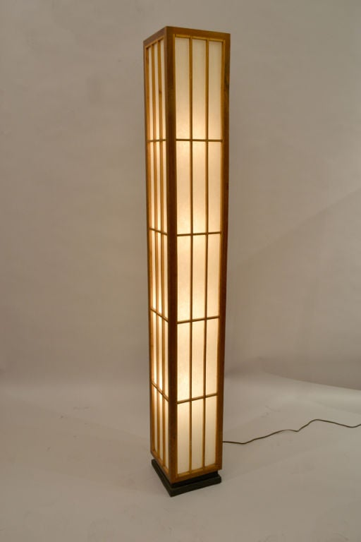 Natural wood skyscaper floor lamp by lightoiler for sale for Floor lamp natural light