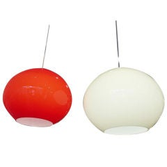 Pair of Large Glass Pendant Lights by Alessandro Pianon for Vistosi, Italy 1960s