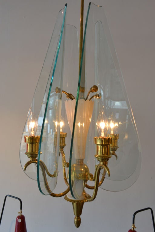 Mid Century Chandelier by Pietra Chiesa for Fontana Arte, Italy 1040s 2