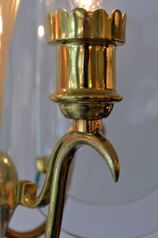 Italian Fontana Arte Glass and Brass Chandelier by Pietra Chiesa, Italy 1940s For Sale