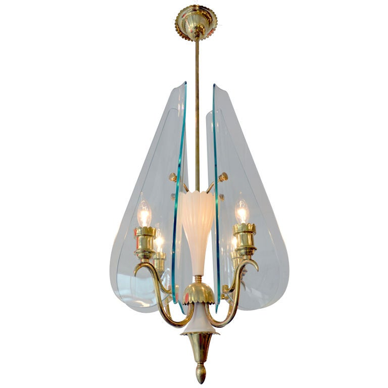 Fontana Arte Glass and Brass Chandelier by Pietra Chiesa, Italy 1940s For Sale