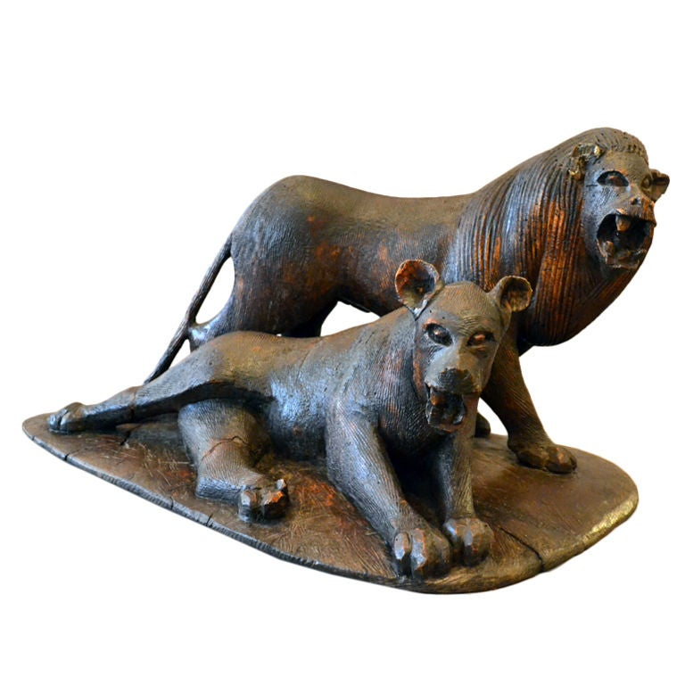 Period African Carving Pair of Lions