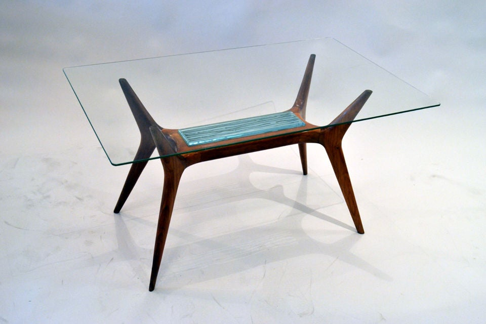 Mid-Century Maple and Glass Side Table with Etched Glass Insert, Italy, 1950s 2