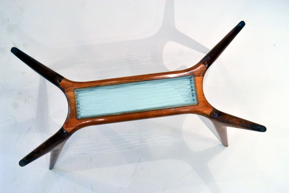 Italian Mid-Century Maple and Glass Side Table with Etched Glass Insert, Italy, 1950s For Sale
