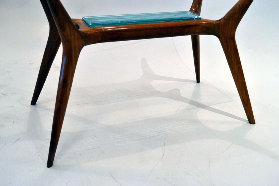 Mid-20th Century Mid-Century Maple and Glass Side Table with Etched Glass Insert, Italy, 1950s For Sale