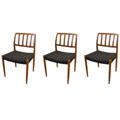 Set of 3 Teak Chairs Model 83 by Niels Otto Moller