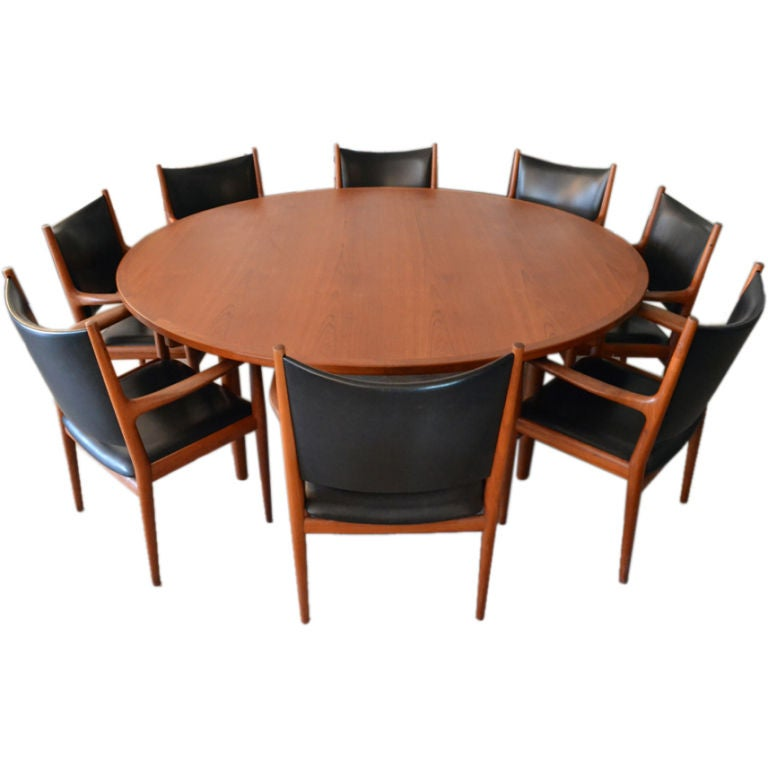 hans wegner conference table and chairs set for johannes hansen at 1stdibs. Black Bedroom Furniture Sets. Home Design Ideas