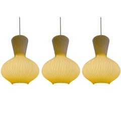 Beautiful Striped Glass Pendants by Mossimo Vignelli for Venini