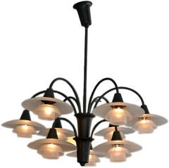 Exquisite 9 Arm Cascade Chandelier by Poul Henningsen 1930's