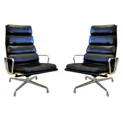 Pair of  Eames Softpad Aluminum Group Lounge Chairs