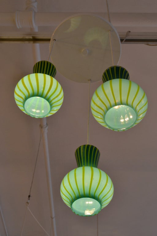 Hand Blown Assemblage of Striped  Glass Pendants 3