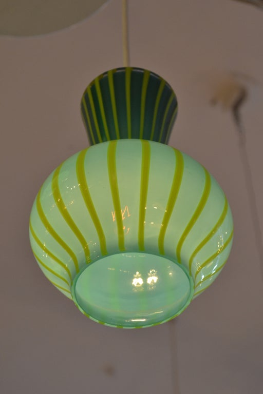 Hand Blown Assemblage of Striped  Glass Pendants 4