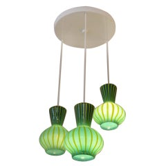 Handblown Assemblage of Striped  Glass Pendants