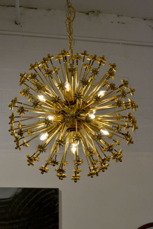 Wonderful Brass plated Sputnik fixture.