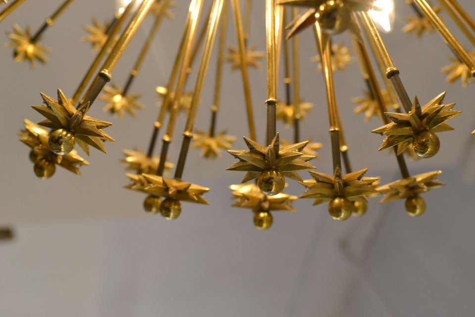 Mid-20th Century Fine Brass Plated Austrian Sputnik Fixture, 1950's For Sale
