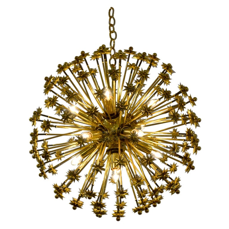 Fine Brass Plated Austrian Sputnik Fixture, 1950's For Sale