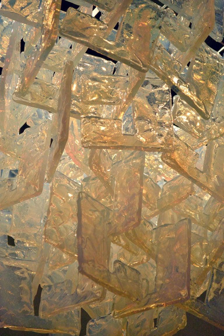 Interlocking Opalescent Glass Chandelier, Italy 1970s 4