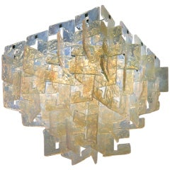 Carlo Nason Interlocking Opalescent Glass Mazzega Chandelier, Italy 1970s