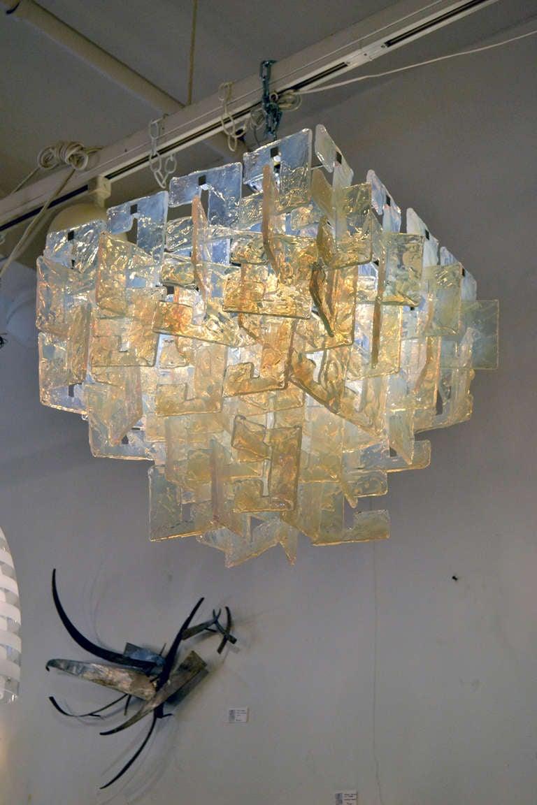 Interlocking Opalescent Glass Chandelier, Italy 1970s 2