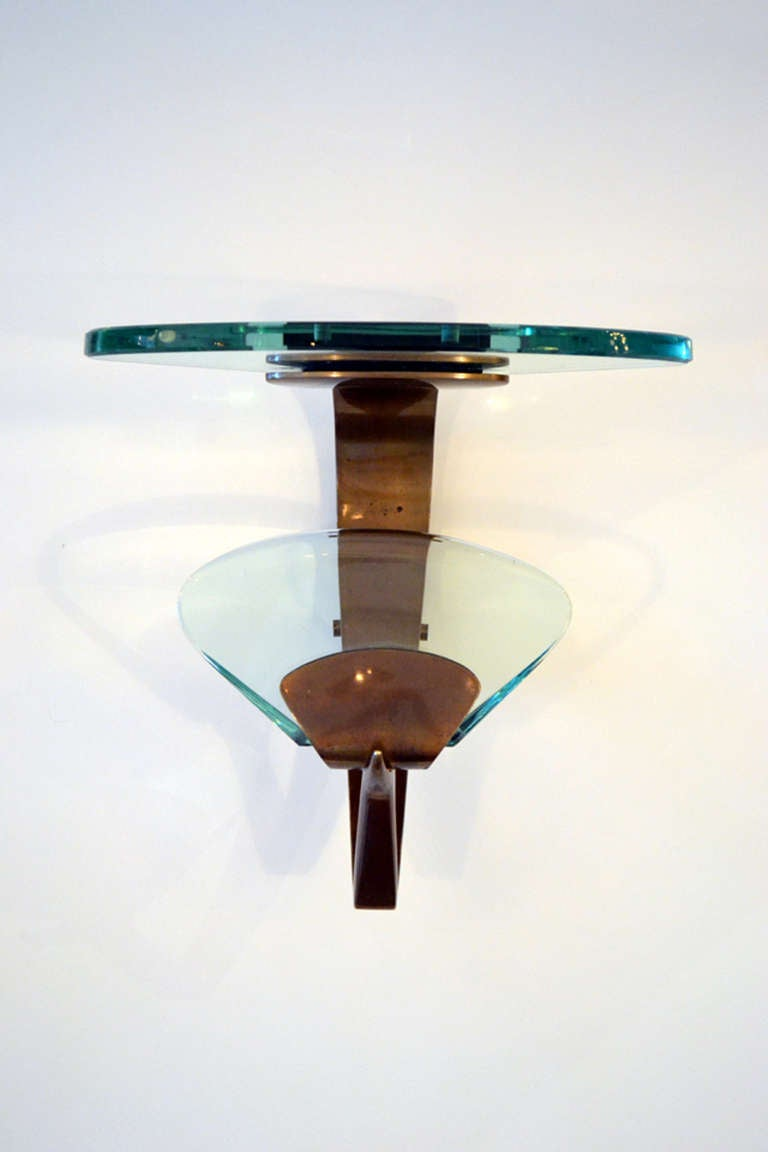 Mid-Century Modern Fontana Arte Glass and Brass Wall Mount Coat Hooks, Italy 1950s For Sale