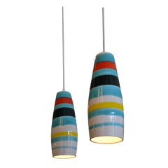 Pair of Striped Ceramic Pendants by Raymor, Italy, 1950s