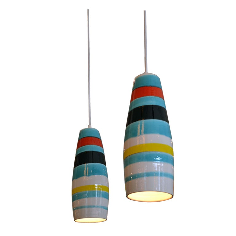 Pair of Striped Ceramic Pendants by Raymor, Italy, 1950s 1