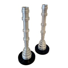 Hand Lathed Machine Age Candlesticks