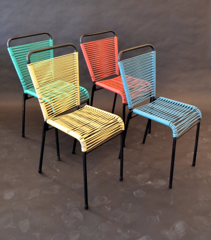 This playful modern cafe table and chairs set is no longer available