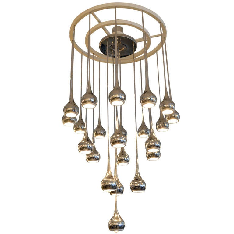 Fantastic Chrome Fluted Chandelier By Esperia Italy At