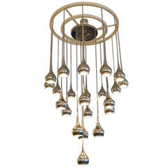 Mid Century Chrome Fluted Chandelier by Esperia, Italy 1960s