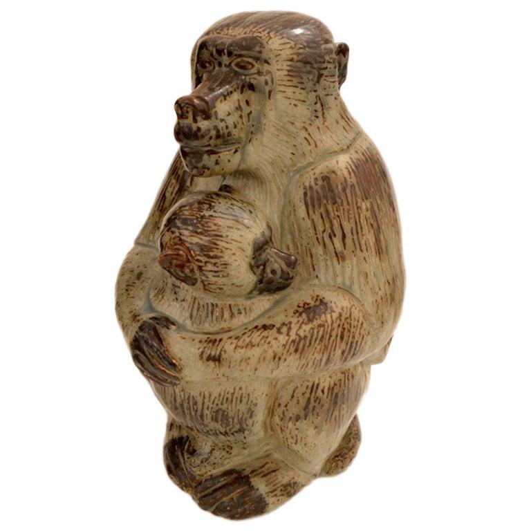 Knud Kyhn Royal Copenhagen Stoneware Baboon, Denmark 1950s