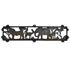 Imaginative and Playful Cast Iron Zoo Plaque