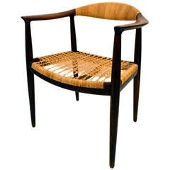 "Teak and Caned ""THE"" Chair by Hans Wegner"