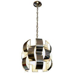 Geometric Chrome Chandelier by Max Sauze, 1970's