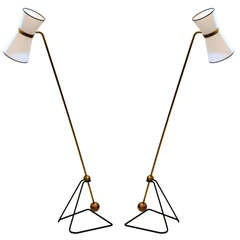 Pair of Pierre Guariche (1926-95) Counter Balance Lamps