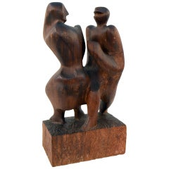 Hand-Carved Walnut Sculpture of Dancers by John Begg, USA, 1950s